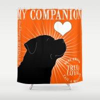 rottweiler Shower Curtains featuring ROTTWEILER – My Companion - Orange by TRArtStudios