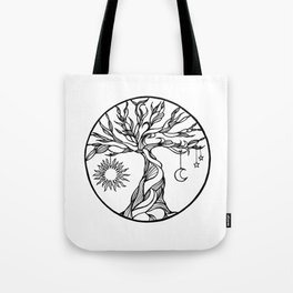 black and white tree of life with hanging sun, moon and stars I Tote Bag