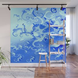 Seahorse in blue Wall Mural