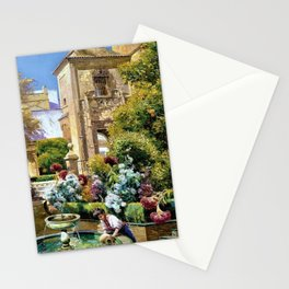 The Gardens of the Royal Alcazar, Seville, Spain by Manuel Garcia y Rodriguez Stationery Cards