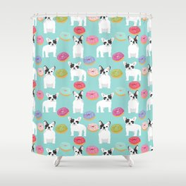 French Bulldog cute mint pastel cute donuts sweet treat doughnuts junk food dessert foods and dogs Shower Curtain