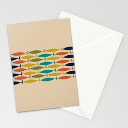 Midcentury Modern Multicolor Fish Stripe Pattern in Olive, Mustard, Orange, Teal, Beige Stationery Cards