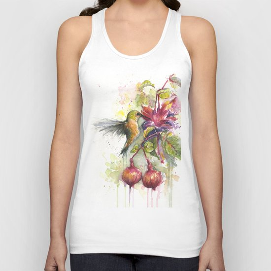 Hummingbird and Fuchsia Watercolor Unisex Tank Top