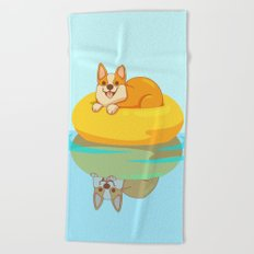Summer Corgi Beach Towel