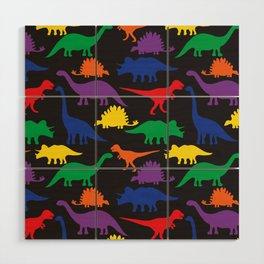 Dinosaurs - Black Wood Wall Art