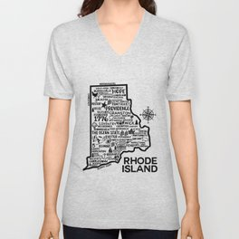 Rhode Island Map Unisex V-Neck