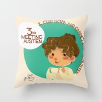 jane austen Throw Pillows featuring Jane Austen 3RD meeting Austen by Vale Bathory