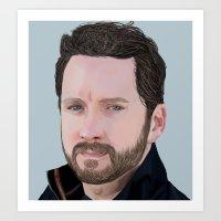 roosterteeth Art Prints featuring Burnie Burns- Lazer Team  by CharlotteJR