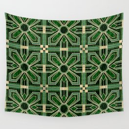 Art Deco Floral Tiles in Emerald Green and Faux Gold Wall Tapestry