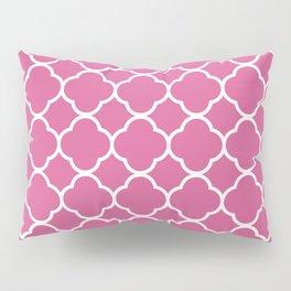 Quatrefoil Shape (Quatrefoil Tiles) - Pink White Pillow Sham