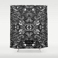 Parti Gras Black and White Shower Curtain