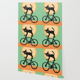 Cat loves a bike Wallpaper