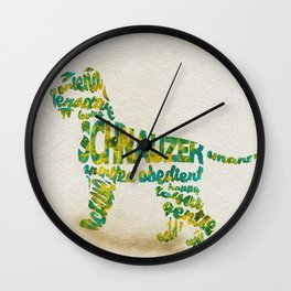 Schnauzer Dog Typography Art / Watercolor Painting Wall Clock