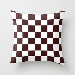 Checkered - White and Dark Sienna Brown Throw Pillow