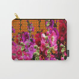 SPICE BROWN  PINK HOLLYHOCKS GARDEN Carry-All Pouch