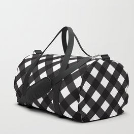 Contemporary Black & White Tilt Gingham Pattern - Mix & Match With Simplicty Of Life Duffle Bag