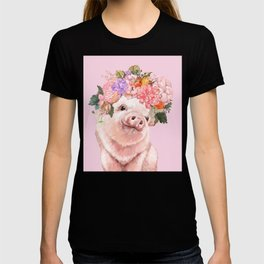 Baby Pig with Flowers Crown T-shirt