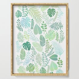 Green tropical leaves pattern Serving Tray