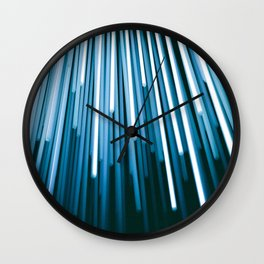 Hyperspace Fiber Optics Blue white Streaks Of Light Wall Clock