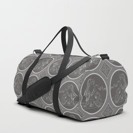 Grisaille Charcoal Grey Neo-Classical Ovals Duffle Bag