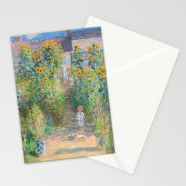 French Impressionist Landscape of Sunflower Farm by Claude Monet Stationery Cards