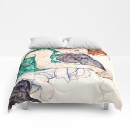 Egon Schiele - Seated Woman with Bent Knee Comforters