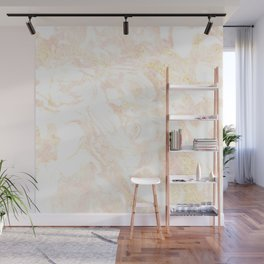 White Marble Pastel Pink and Gold by Nature Magick Wall Mural