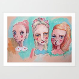 White, Blue and Pink Collared Art Print