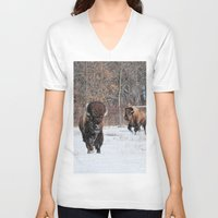 running V-neck T-shirts featuring Running Wild by Captive Images Photography