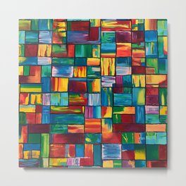 Abstract Colorful Bricks Metal Print