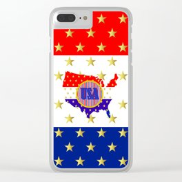 American Stars And Stripes Clear iPhone Case