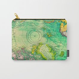 Colorful Map of the North Pole - Vintage Carry-All Pouch