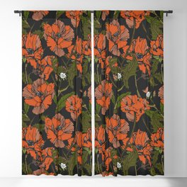 Autumnal flowering of poppies Blackout Curtain