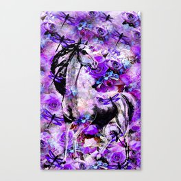HORSE ROSES DRAGONFLY IMPRESSIONS Canvas Print