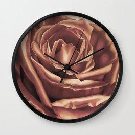 Rose Flower Art Print, pasel drawing, Tea Stain Wall Clock