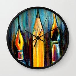 Pen, Pencil, Brush Wall Clock