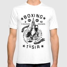 Boxing White Mens Fitted Tee MEDIUM