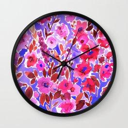 Isla Floral Purple Wall Clock