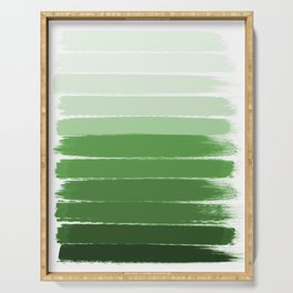 Yote - ombre green brushstrokes abstract minimal canvas painting art decor Serving Tray