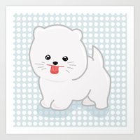 pomeranian Art Prints featuring White Pomeranian by Pati Designs