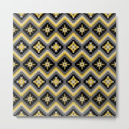 Tribal Pattern in Black, Yellows and Gray Metal Print