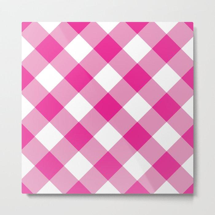 Gingham - Pink Metal Print