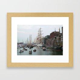 Tall ships in Amsterdam's Harbour Framed Art Print