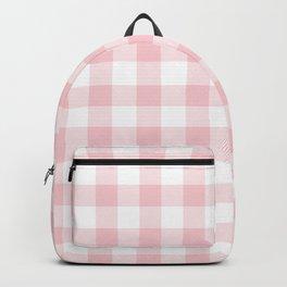 Large Valentine Soft Blush Pink and White Buffalo Check Plaid Backpack