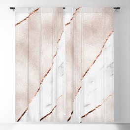 Spliced rose gold marble Blackout Curtain