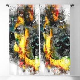 dog 2 splatter watercolor Blackout Curtain