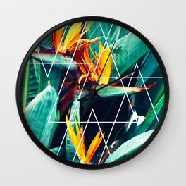 Modern white geometric triangle tropical bird of paradise photography Wall Clock