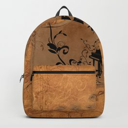 Music, piano with floral elements on vintage background Backpack