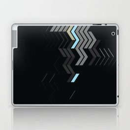 Deconstructed Chevron C – Gray / Gold / Blue Abstract Pattern Laptop & iPad Skin