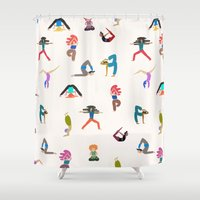 yoga Shower Curtains featuring yoga lovers by .eg.